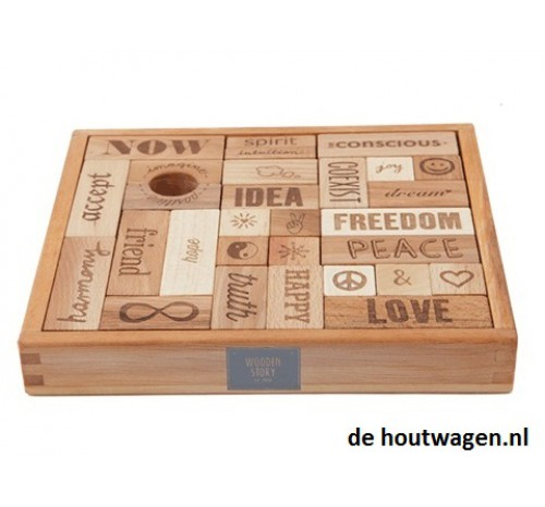 Wooden Story eco peace & love blokken