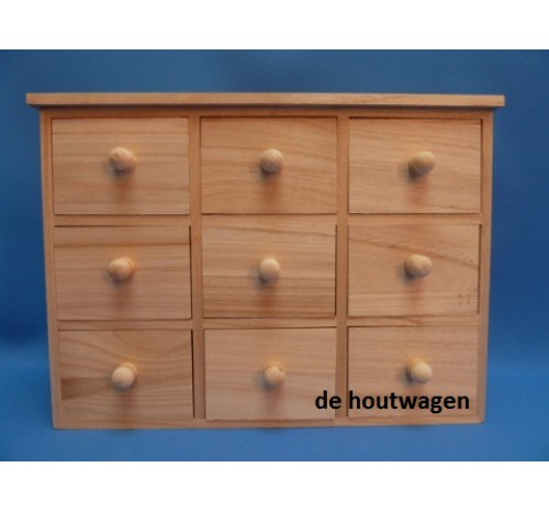 Ladenkast 70 Breed.Houten Ladenkast Met 9 Laden