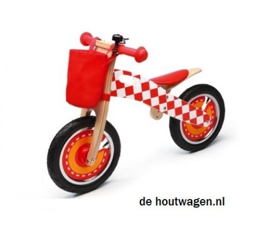 Houten loopfiets met luchtbanden rood scratch - Stapelen ontlasting ...