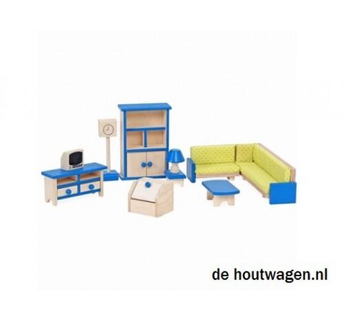 Poppenhuis meubels set woonkamer for Houten meubels woonkamer