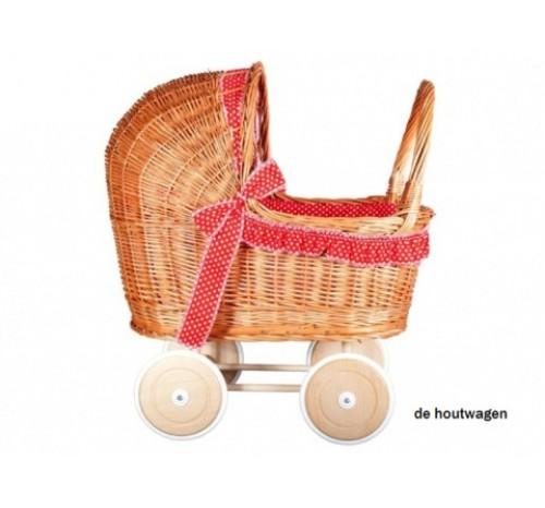 poppenwagen riet rood met witte stippen