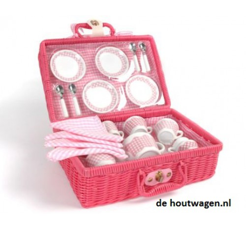 picknick theeservies in roze mand