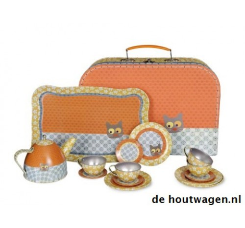 servies flower cat in koffer