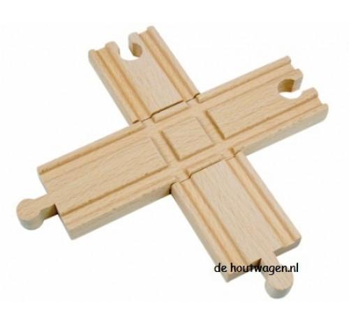 houten treinbaan kruising