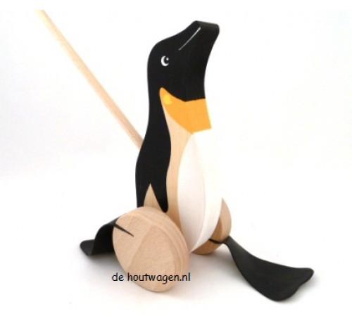 houten stokroller pinquin